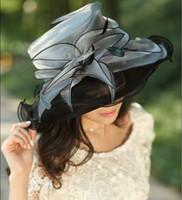 Wholesale Vintage Hat Lady Wide Brim Hats Women Organza Hat Winter Dress For Church Fashin Dress Chapeau Hat Women Organza Flower