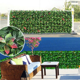 Wholesale 12 artificial boxwood green hedge X50cm fence Leaves fake hedge garden plants G0602A002