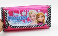 Wholesale 2014 New girl lady Pencil Bag Cosmetic Bags Coin Purse Frozen Cartoon Elsa Anna Pattern Canvas Cosmetic Bags cm cm cm