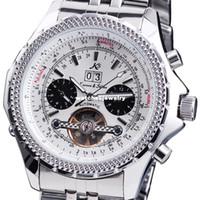 Sport Men's Water Resistant Wholesale-Classic KS Tourbillon Silver Stainless Steel Metal Buckle Band Men's Automatic Mechanical Date White Sport Wrist Watch KS010