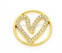 Wholesale 20 Pieces Zinc Alloy Gold Crystal Heart Window Plate for Glass Memory Locket WP