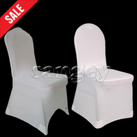 Wedding Chair Spandex / Polyester  Universal White Polyester Spandex Wedding Chair Covers for Banquet Folding Hotel Decoration Decor Quality Hot Sale Wholesale