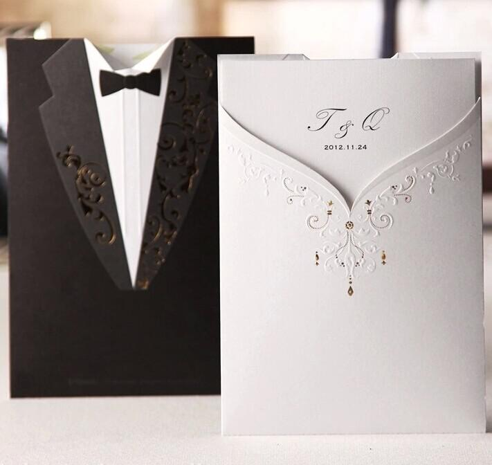 New Arrival Personalized Design The Bride And Groom Dress Style Invitation Card Wedding