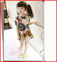 Wholesale Lowest Price New Kids Summer Dress Fashion Chiffon Dresses Children Clothing Dress Short Girls Cute Printed Dresses pc Melee