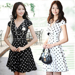 Wholesale 1015 women new fashion white black v neck short sleeve polka dot knitted cotton slim dress summer temperament work dress