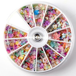 Wholesale-1200pcs Wheel Mixed Nail Art Tips Glitters Rhinestones