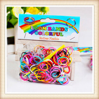 Unisex 5-7 Years Multicolor Wholesale2014 - Quality Loom Bands Dual Color Multi Color Rubber Bands Loom DIY Band Wrist Bracelet 1 piece (200 bands + S clips+1 hook)