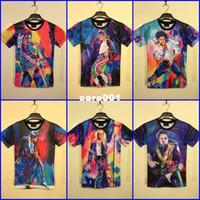 Men Polo Tops WholesaleHarajuku Summer New 2014 Women Men Clothing Funny Michael Jackson Color Printed 3D T-shirts Punk Camisetas Tee Tops Plus Size