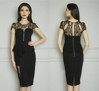 Reference Images Crew Satin Black 2014 New Sexy Lace Cocktail Dresses With Crew Cap Sleeve Peplum Sheath Knee-length Prom Party Dress Women Pageant Gowns