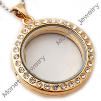 Wholesale J00079 gold plated round magnetic rhinestone glass floating charms locket with stainless steel chain
