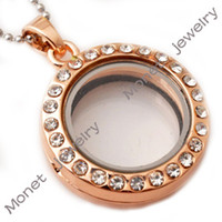 Wholesale J00076 rose gold round magnetic glass floating charms locket mm with stainless steel chain