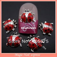 Wholesale MNS59 New nail designs animal ladybug shape silver d alloy nail art decoration jewelry floating locket charms