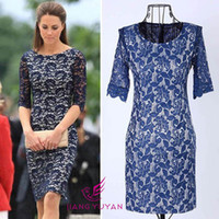 Wholesale Summer party dress new long sleeved lace dress sexy temperament Slim Dress for women celebrity dress Kate Middleton