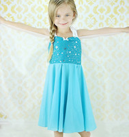 TuTu Summer A-Line 1406z summer dress 2014 tutu kids girl party dress princess costume baby girls elsa dress blue Sling new frozen dress 51801