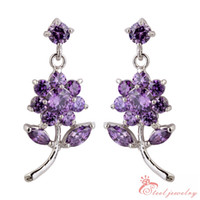 Wholesale Fashion women silver metal purple amethyst Swarovski Elements austrian crystal beautiful sunflower earrings jewelry SE0192