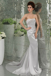 Wholesale 2014 New Silver Cheap custom made Strapless Sleeveless sweet train Sequins Beaded Summer Prom Dresses Evening Dresses SD0010