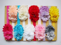 Wholesale Baby Flower headbands solid shabby flower mini pearl chiffon flower with elastic hairbands kids hair accessory