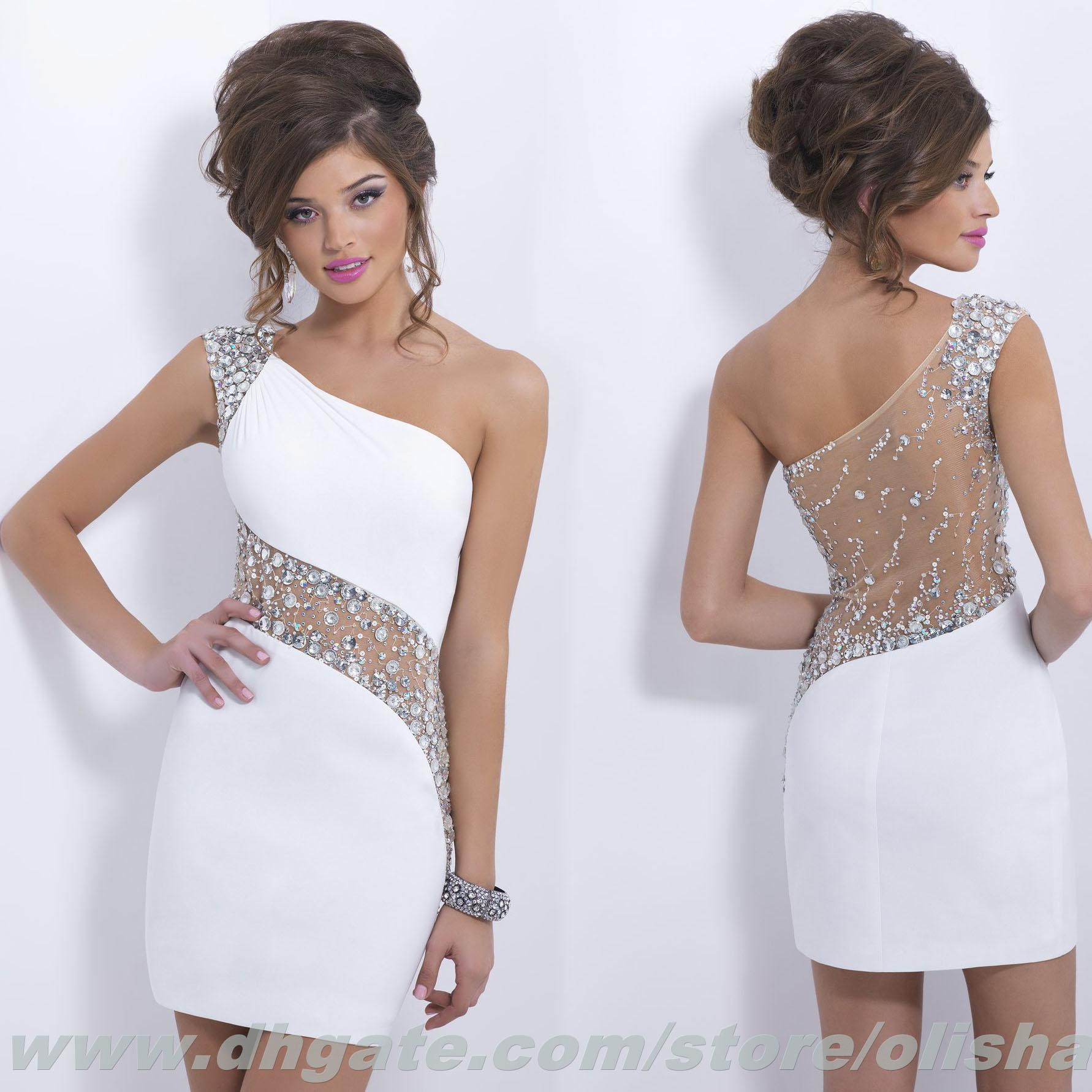 Short Mini Homecoming Dress 2016 With One Shoulder Prom Dresses ...
