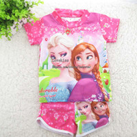 Wholesale Frozen Child Sets Beachwear Kids Swimwear Girls Swimsuit Children Swimwear Kids Bathing Suits Tee Shirt Swim Trunks Fashion Beach Supplies