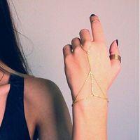 Wholesale 2014 NEW Multi Bracelet Bangle Slave Chain Link Interweave Finger Rings Hand Harness Gold JB06107