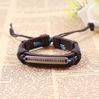 Wholesale Aspiring to do something inspirational words into English brand leather bracelet leather bracelet jewelry jewelry