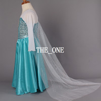 Wholesale in stock Frozen Dress Elsa Snow Queen Dress long sleeve formal dress shiny sequined dress yarn cloak fashion lace blue princess elsa dress