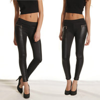 Wholesale Fashion New Women Leggings Elastic Waist Stretchy Skinny Leather Look Panels Pants Trousers Black G0541