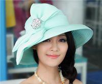 Wholesale Ladies Church Hats Satin Fabric Newly Designed Satin Ribbon Flower Brooch Derby Wide Brim Hat Blue Yellow Shiny Jewelry Women Summer Sunhat