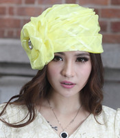 Wholesale Fashion New Derby Wedding Organza Hats Church Cloches Women s Fashion Headwear Hats Sunhat Green Flower Accessory Girl s Party Cosplay Hat