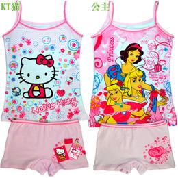 Discount underwear sell Lycra cotton underwear manufacturers selling children cartoon princess girls condole belt vest pants pajamas suit T-shirt set