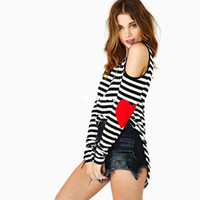 Wholesale Brand T Shirts Navy Style Striped T Shirt New Heart Patch Designs Open Shoulder Hollow Punk Shirt Women Clothing Plus Size