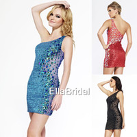 Wholesale Gorgeous Sequined Fabric with Crystal Beaded Sheath Sexy Mini One Shoulder See Through Cocktail Dresses Style L986
