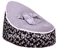 Cotton Front Carry Shoulders Baby Bean Bag Kid Sofa Chair Grey seat waterproof Skull base printed Soft Bed with Double layers Harness Strap Free shipping