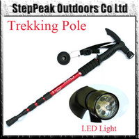 Plastic Yes Rubber Tip Adjustable Walking Stick With Led Light And Compass, Alpenstock,Hiking Trekking Pole(QCP-019)
