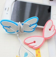 Wholesale Silicone Angel wings bobbin winder MP3 MP4 phone Cable Winder pink gray blue