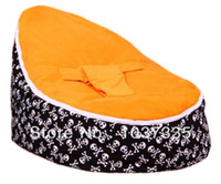 Cotton Front Carry Shoulders Baby Bean Bag Kid Sofa Chair Orange seat waterproof Skull base printed Soft Bed with Double layers Harness Strap Free shipping