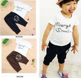 Wholesale Cotton children clothing baby summer leisure clothing sportswear smiling face T shirt p pants suit