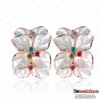 Wholesale Wedding Jewelry Women Earrings Bijoux K Rose Gold Plate Genuine SWA Elements Austrian Crystal Enamel Flower Earring ER0099