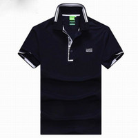 Men Polo Short Sleeve Wholesale and Retail Man Top Stripe Polo Shirt T Shirt Solid Color 10 Colors Hot Sale Size M-XXL Mix Order Top Quality