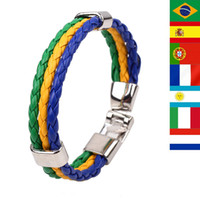 Wholesale 2014 Brazil World Cup soccer multinational commemorative bracelet bracelet woven leather bracelet jewelry
