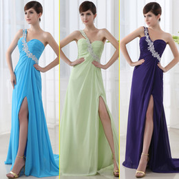 Wholesale 2014 Cheap Summer Evening Dresses High side split One shoulder Sleeveless Floor length Sequins Beaded Prom Dresses SD0012