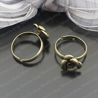 Couple Rings Metal Ring Settings Free Shipping Wholesale 18mm Antique Bronze flower Copper+alloy Ring settings Diy Findings Accessories 10 pieces(J-M3406)