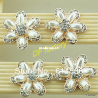 Wholesale cm flat back button pearl embellishment for invitation buckle handmade ribbon brooch accessories pieces