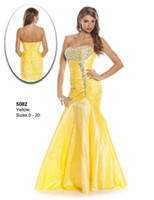 Reference Images Taffeta Trumpet/Mermaid 2014 Yellow Wow Prom Dresses Mermaid Strapless Bead Lace Up Taffeta Backless Pleat Custom Plus Size Evening Gowns Formal Pageant Dress 16