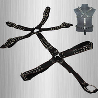 Restraints Clothing Male  Male Full Body Harness With Penis Rings Men Slave Body Leather Fetish SM Bondage Systemic Set