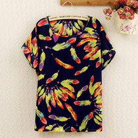 Wholesale New Homies Sexy Feather Colorful Sleeve Batwing Chiffon Blouse Casual Top Roupas Femininas Plus Size Women T Shirt