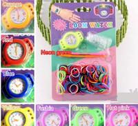 Charm Bracelets Children's Gift 2014 New Rainbow Loom Bracelet Watch DIY Knitting Braided Rubber loom Bands Kids Wrist Watches Express Free Shipping
