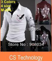 Men 100% Linen Shirts [C-144] 2013 autumn new fashion Eagle tattoo slim shirt men long sleeve POLO shirt designer t shirt Free Shipping M-XXL