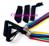 Wholesale 11 Portable Resistance Bands Fitness Exercise Latex Tube workout gym yoga fitness abs Kit Set Tension Ropes