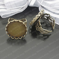Couple Rings Jewelry Findings Metal Wholesale 18mm Antique Bronze Copper Ring settings Findings Accessories 10 pieces(J-M3158)